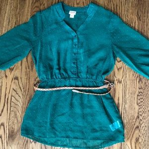 Mossimo Green Sheer Blouse with belt size medium